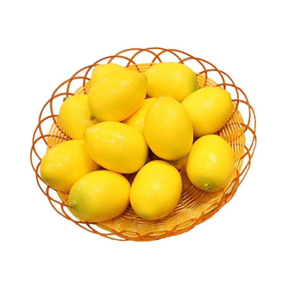 Kesoto 12pcs Fake Fruit Lemons Artificial Lifelike Simulation Lemon Artificial Fruit Decorations for Still Life Paintings, Storefront, Kitchen Decor, Yellow, 2.8 x 2 Inches
