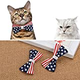 KUDES 2 Pack/Set American US Flag Cat Collar with