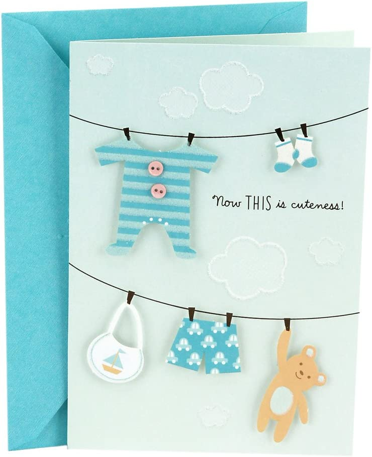 Amazon Com Hallmark Baby Shower Card Blue Now This Is Cuteness Office Products