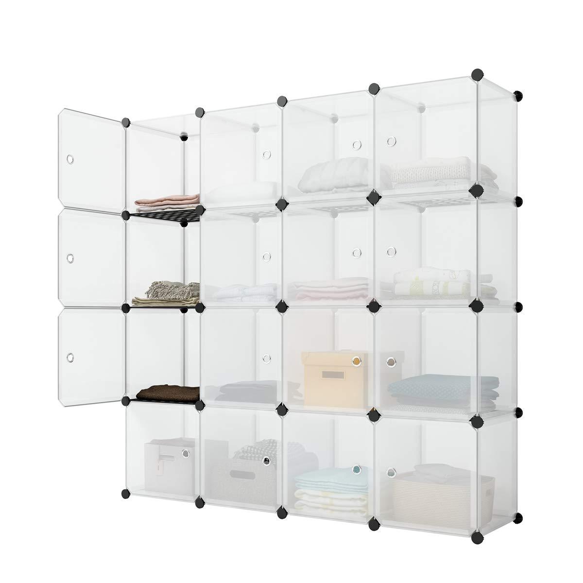 JYYG Storage Storage Shelves Storage Cubes Room Organizer Clothes Storage Storage Shelves Apartment Storage Cubby Shelving Cube Storage Dresser Shelf, Transparent White, 16 Cubes Storage by JYYG