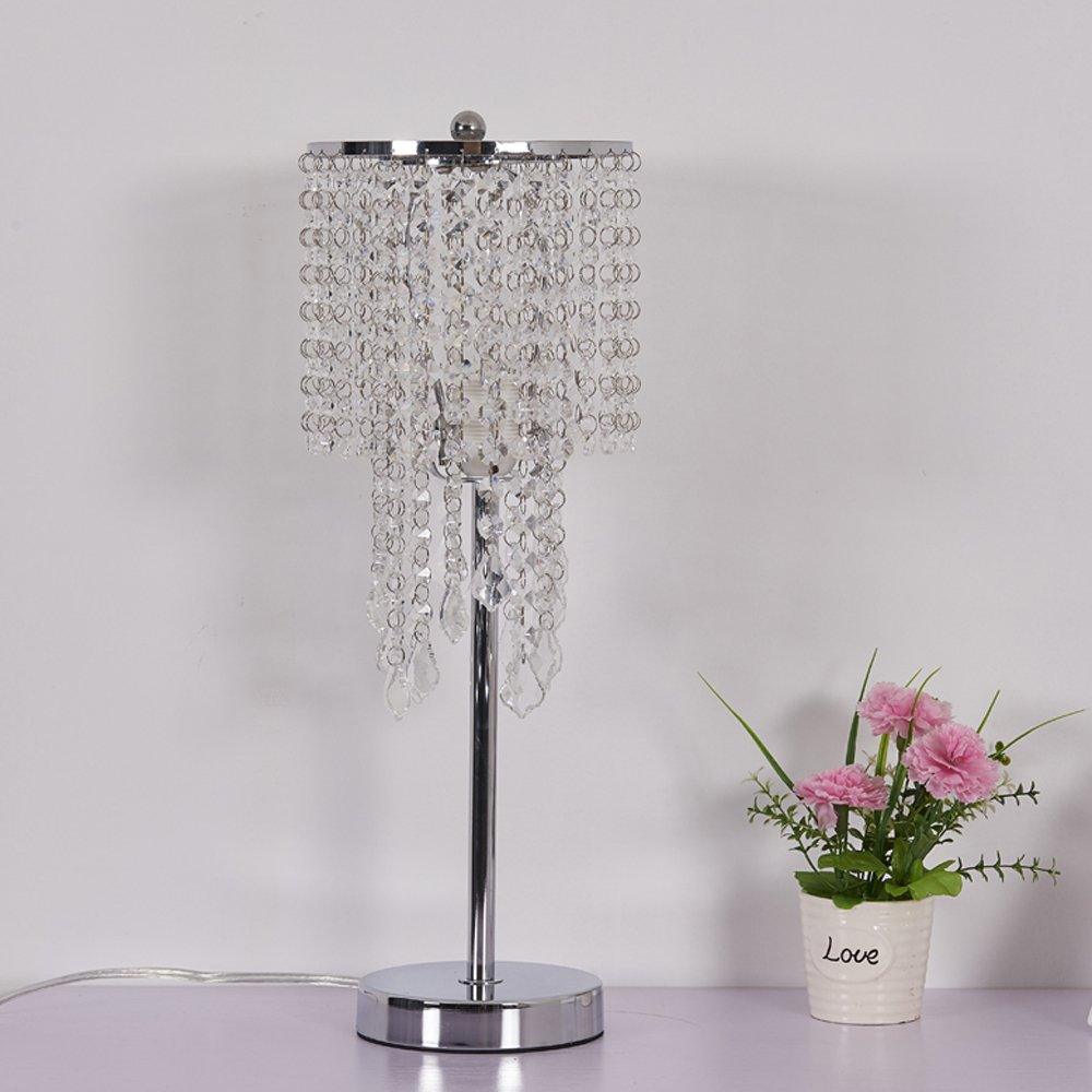 Surpars House Raindrop Silver Crystal Table Lamp for Bedroom,Living Room,Girls Room or as Wedding Gift Surpass Lighting S017007600001