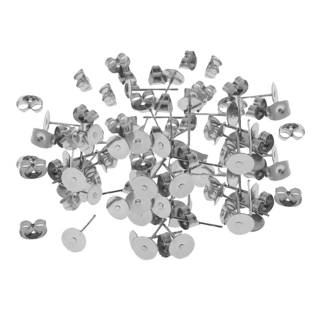 MonkeyJack 60 Pairs/Lot Hypoallergenic Earrings Pin Stud Blank Back Lock Post Pad Blank Crafts DIY Making Crafts