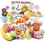 30 Pcs Random Kawaii Mini Soft Squishy Foods Panda Bread Bun Toasts Multi Donuts Phone Straps Charm Kids Toy Gift