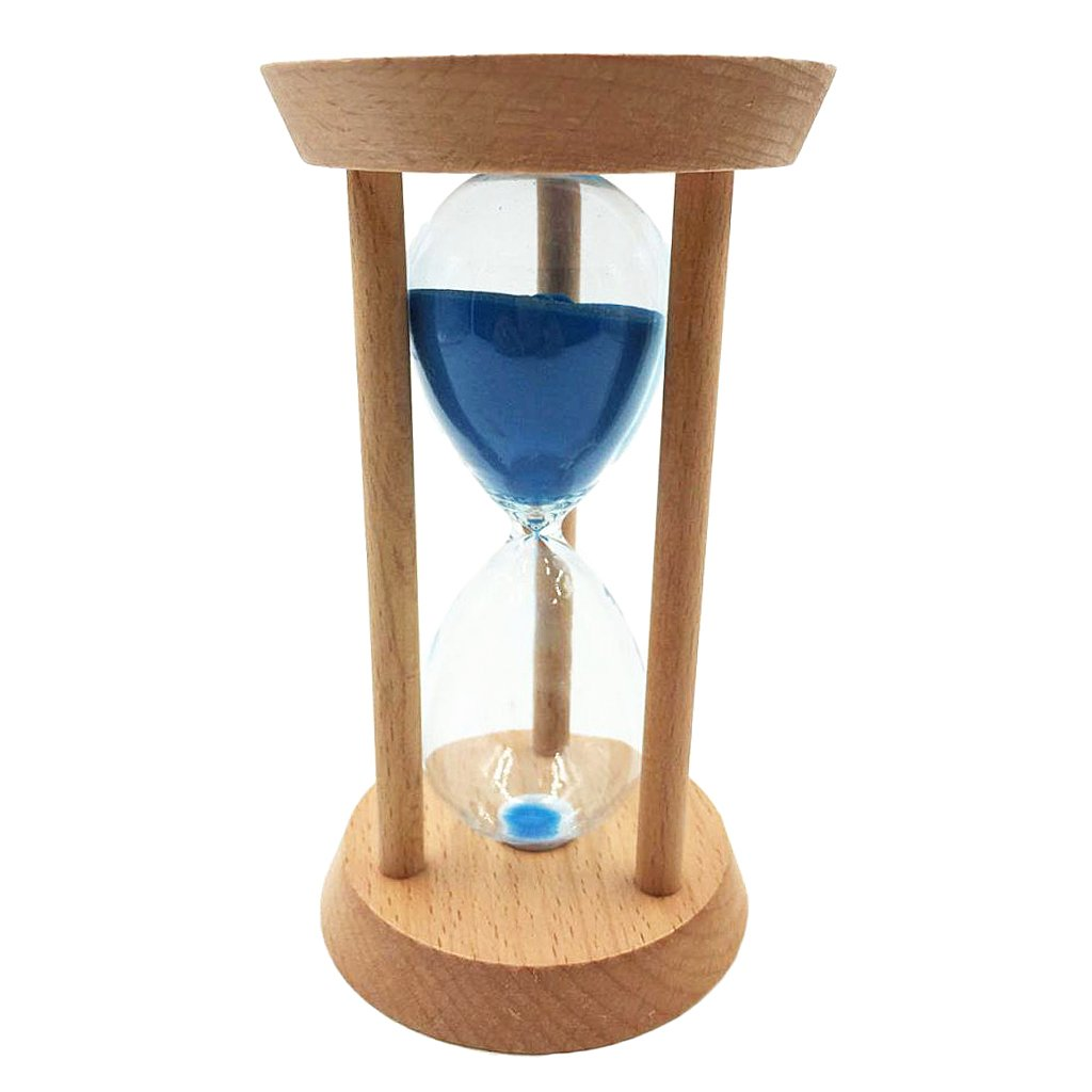 Baoblaze 20 Mins Oblique Wood Sand Glass Hourglass Clock Timers Kitchen Tools Home Decoration Special Needs Blue
