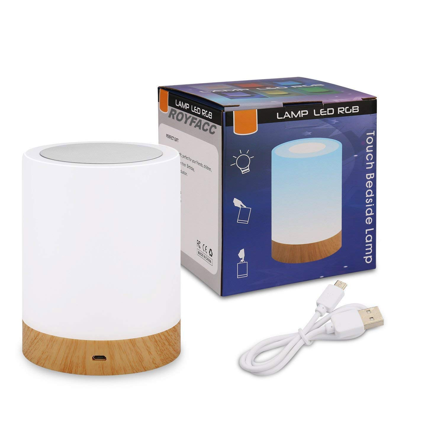 ROYFACC Night Light Touch Sensor Lamp Bedside Table Lamp for Kids Bedroom Rechargeable Dimmable Warm White Light + RGB Color Changing by ROYFACC (Image #7)
