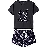 a9dca7db2 VENTELAN Summer Pajamas for Women 2 Piece Cute Cat Sleepwear Pajama Sleep  Set