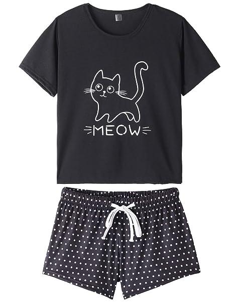 88d914692cf VENTELAN Summer Pajamas for Women 2 Piece Cute Cat Sleepwear Pajama Sleep  Set Black