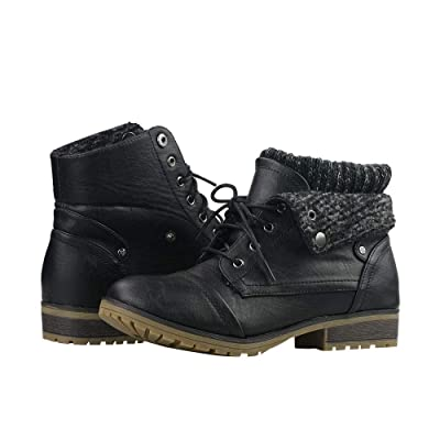 Women's Knitted Cuff Ankle Booties Lace up Combat Boots Folded Collar Stylish Snow Boots Hiking Shoes | Ankle & Bootie