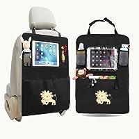 Berocia organisateur de voiture protege siege arriere auto enfants housse siege voiture sac universelle avec Transparent PVC iPad Holder