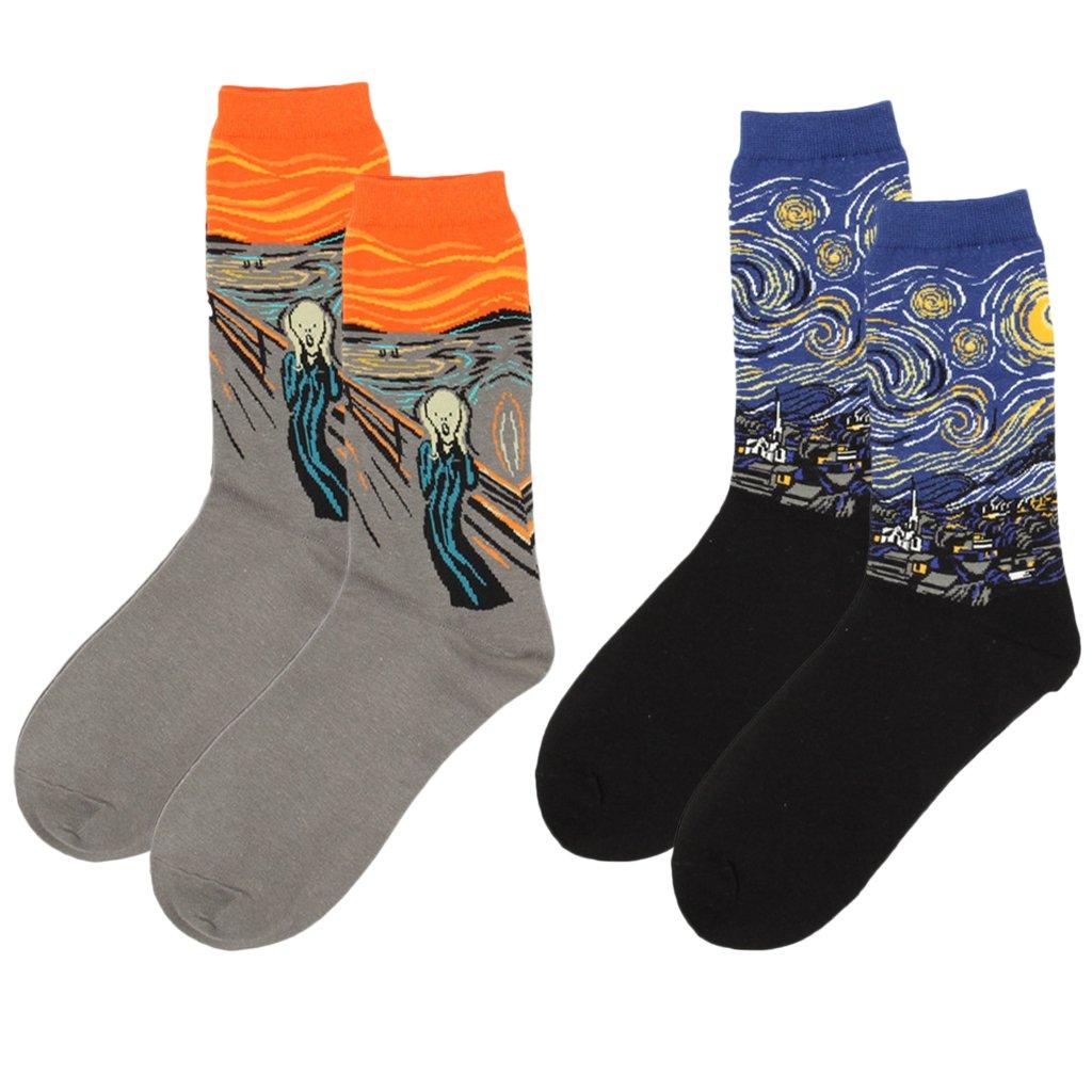 Prettyia Mens Classical Painting Crew Socks Casual Mid-calf Length Socks Star+Scream 2Packs