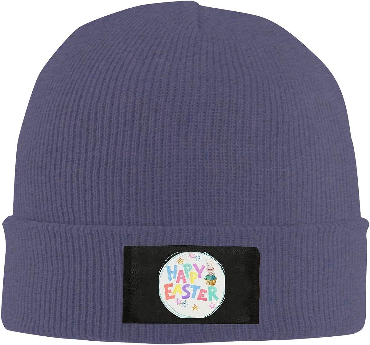 RZMdSG Happy Easter Bunny Unisex Winter Printed Warm Knitting Hats Skull Cap