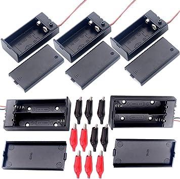 YUEQIN 2 pcs 3.7 V 18650 Batería Plana Caso Plástico Caja de Batería y 3pcs Portapilas 9V con Cable y Caja con Tapa e Interruptor y 10 Pinzas de Cocodrilo: Amazon.es: Electrónica
