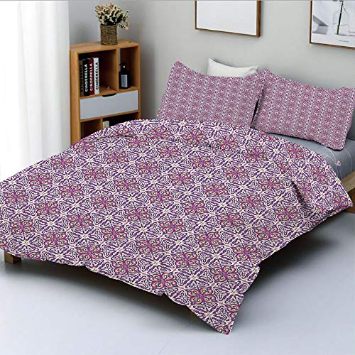 Duplex Print Duvet Cover Set Twin Size,Abstract Oriental Floral Motifs Antique Hand Tile Design Repeating PatternDecorative 3 Piece Bedding Set with 2 Pillow Sham,White Purple Pink,Best Gift For Kids
