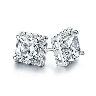 f0844552778f8 Amazon.com: Halo Stud Earrings with Swarovski Elements 18k White ...