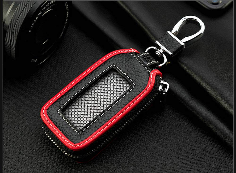 Superior Genuine Leather Auto Car Key FOB Holder Protector Cover Smart Key Chain with Metal Hook and zipper Closure Universal Black blue edge Car key case key Bag Wallet