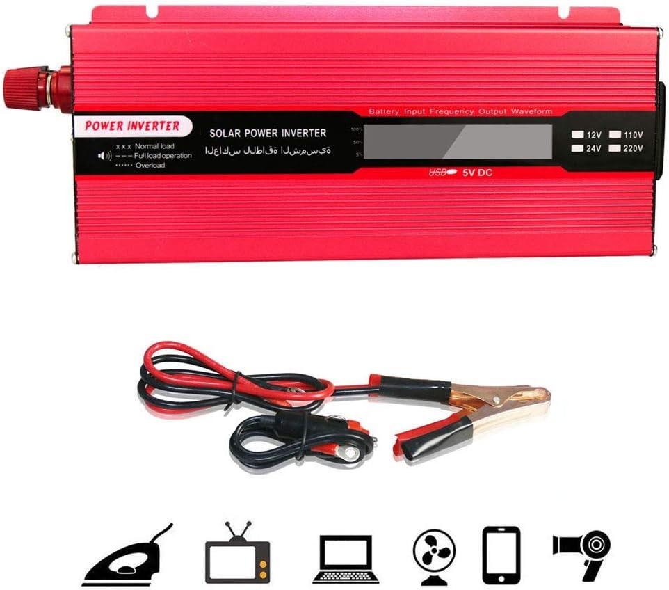 LIMEID Inversor De Corriente 500w / 1000w / 1500w / 2000w, 12V / 24V A 220V Convertidor De Voltaje USB Power Inverter con 1 Enchufe Y Pantalla LCD, para AutomóVil, Camping, Viajes,24vto220v-1000W