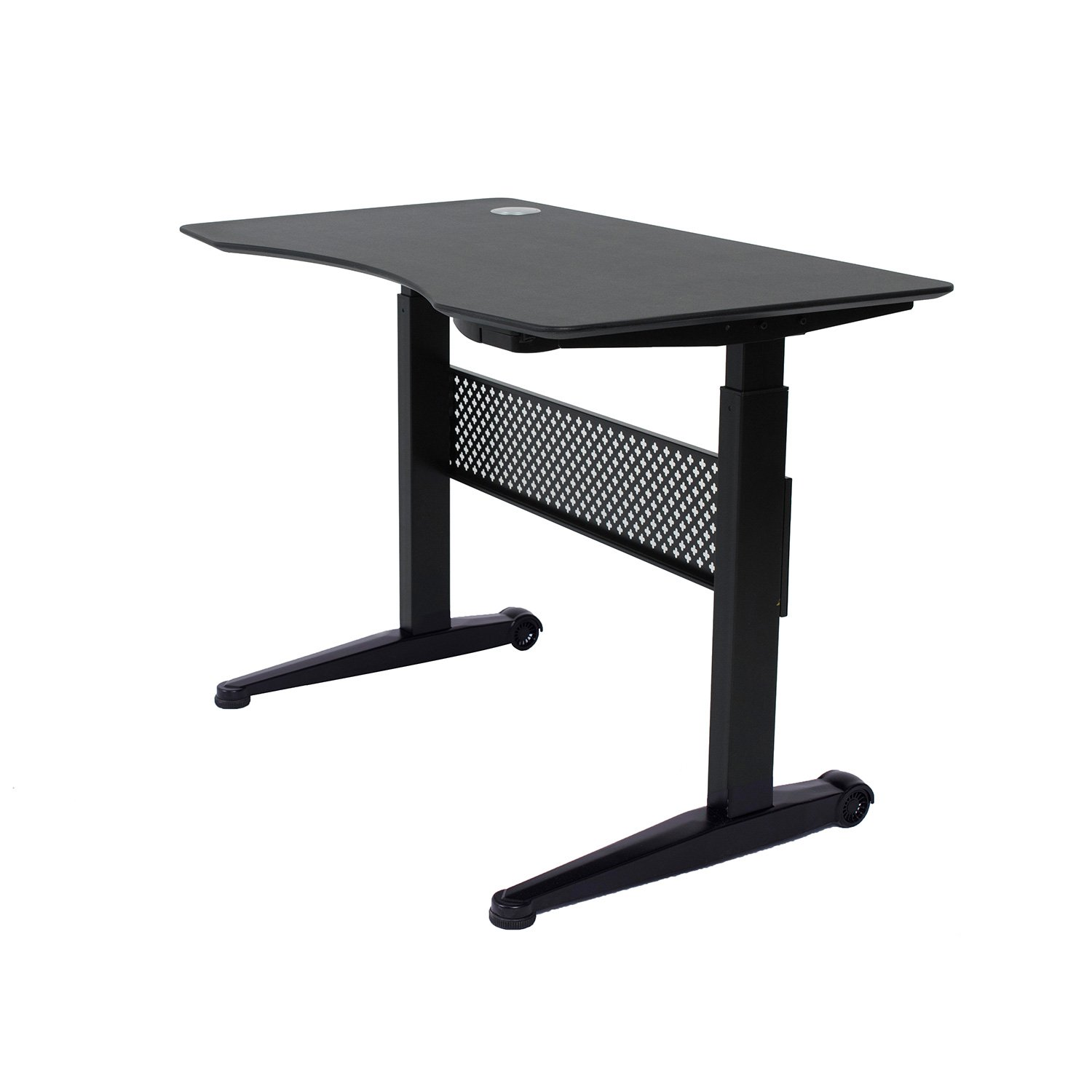 "Apex Desk Air Desk Series 59""X29"" Movable Sit/Standing Desk, Pneumatic Height Adjustable From 29"" To 48"" (59x29"" Textured Black Top, Black, Frame) by Apex Desk"