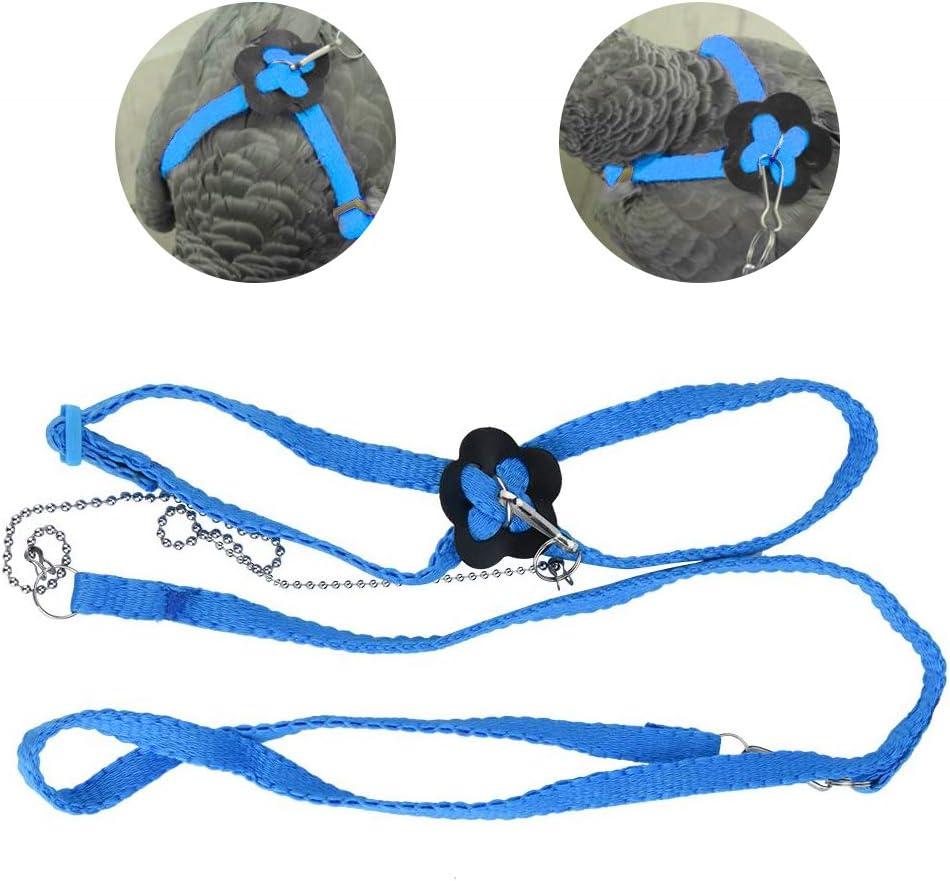 HEEPDD Arnés y Correa de Ave de 1,2 m, Cuerda de Entrenamiento antiparreja de Vuelo Ajustable para Loros cacatúa Gris Africana y Paseo al Aire Libre de lagartos Reptiles (Azul)
