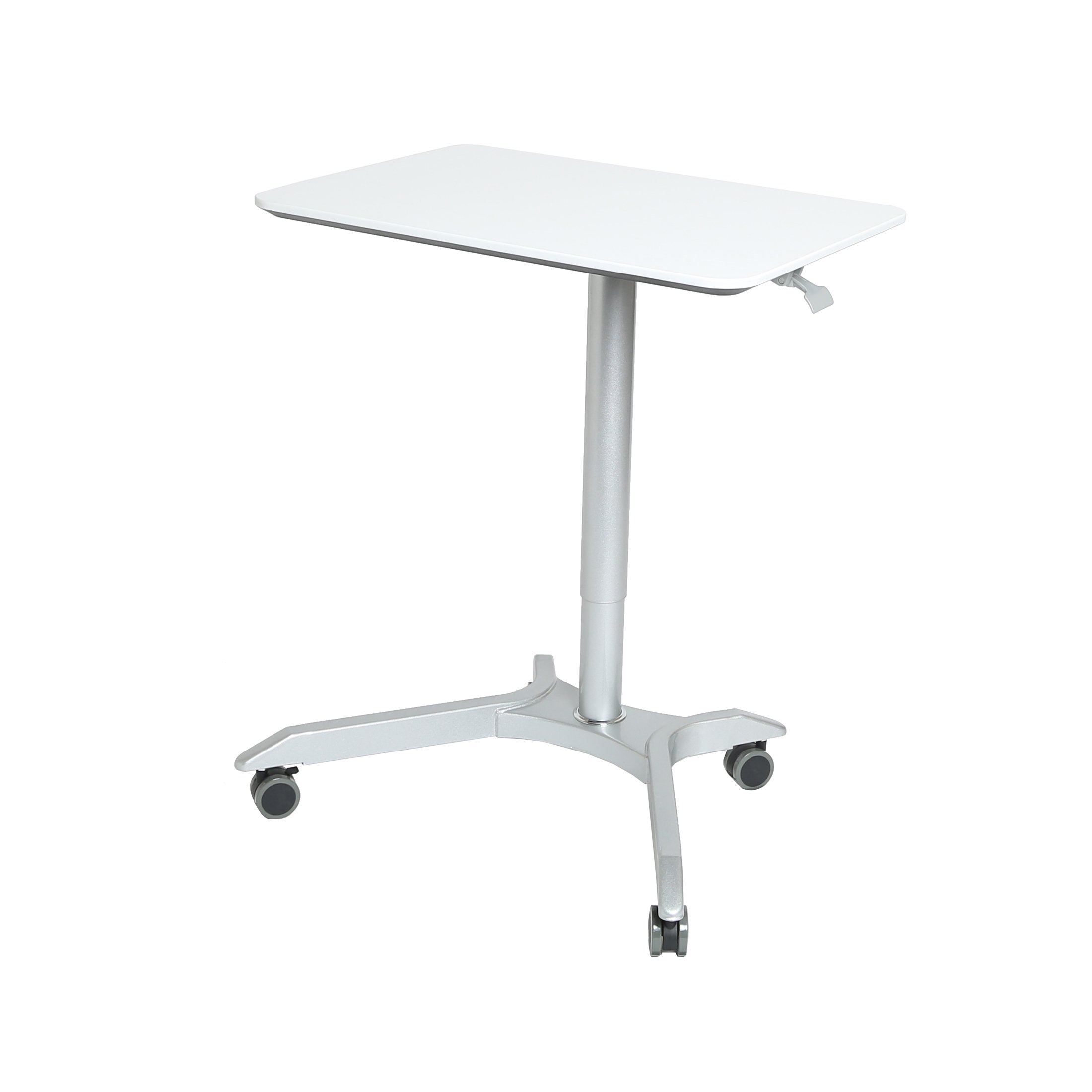 Seville Classics AIRLIFT XL Pneumatic Sit-Stand Mobile Desk Cart, Height-Adjustable from 27.1 to 41.9, White