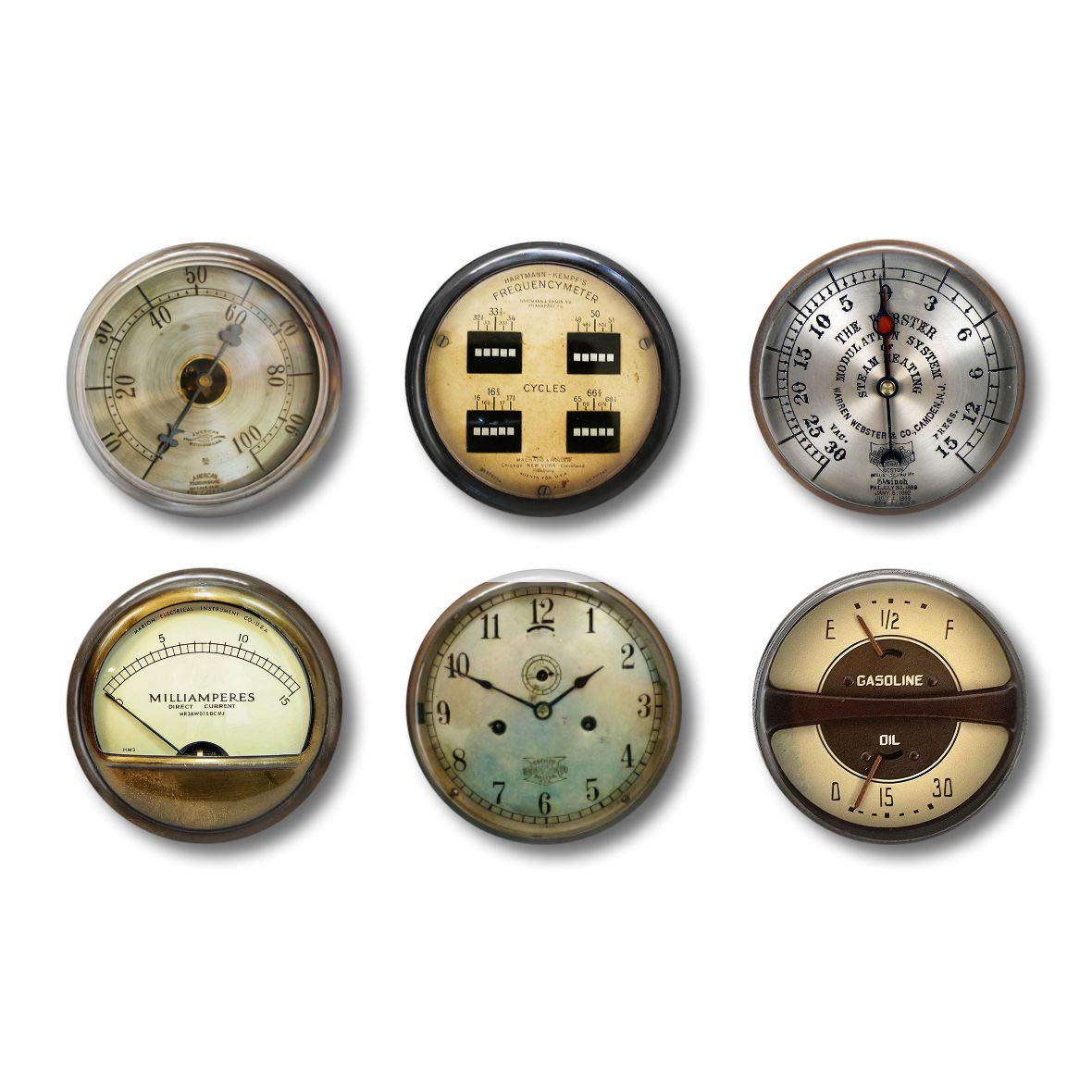 Fun Locker Magnets For Boys - Vintage Gauges - Fun School Supplies - Whiteboard Office or Fridge - Funny Magnet Gift Set (Gauges)