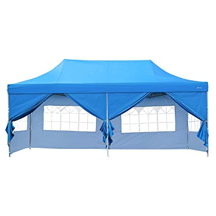 newest 87067 f6970 DOIT 10ft x 20ft Outdoor Pop up Shade Instant Folding Canopy with 6  Removable Side Walls,Party Tent,Portable Wheeled Carrying Bag,Blue