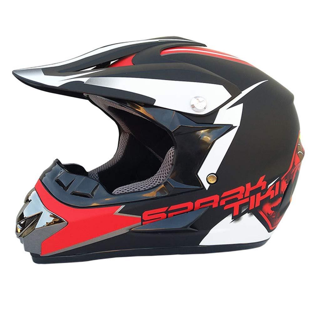 YGFS Adult Motocross Helm D.o.t Certified Fashion Herren und Damen Scooter ATV Helm//Mit Schutzbrille Handschuhe Maske Schwarz Rot n, M, L, XL