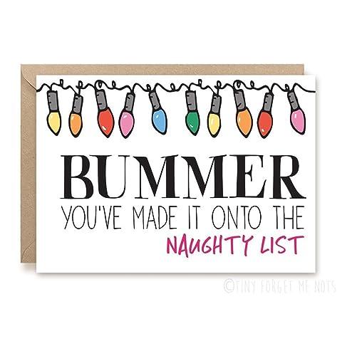 funny christmas card santa christmas card funny holiday card bummer santa naughty list