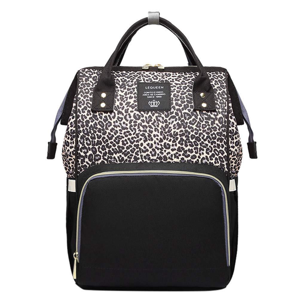 Ladies Leopard Handbag Shoulder Large Capacity Bottle Pack Shoulder Mummy Bag Backpack for Women Men Waterproof
