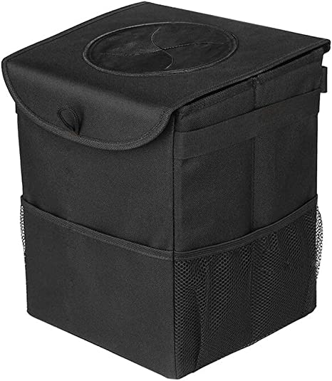 Garbage Bag with Waterproof Side Pockets and Lid TURNRAISE Car Trash Bin Trash Can