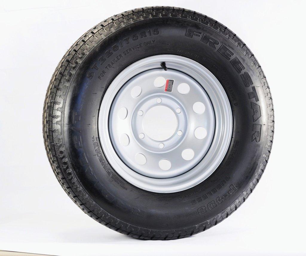 Radial Trailer Tire + Rim ST225/75R15 225/75-15 15 6 Lug Wheel Gray Grey Modular