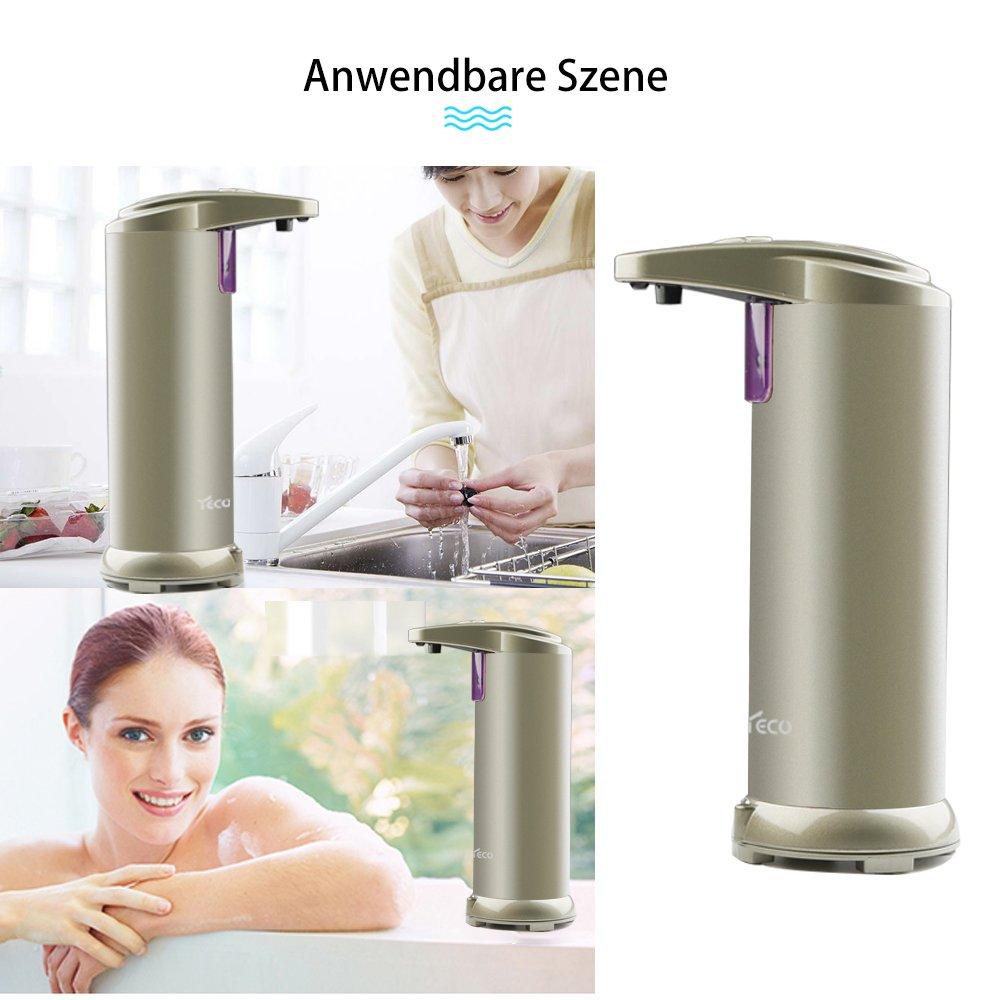 YECO Dispensador de jabón automático, Sensor de Infrarrojos dispensador de jabón Touchless con Funda Impermeable, Acero Inoxidable Cepillado Ideal para baño ...