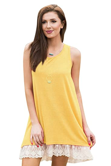 e4ed24bbaea6 Women s Summer Sleeveless Dress Casual Loose Lace Hem Tunic Dresses Sundress