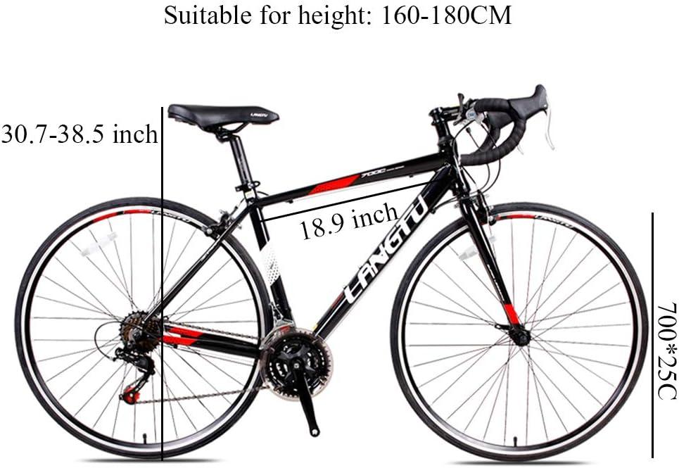 NENGGE Bicicleta de Carretera, 21 Velocidades Frenos V-Brake ...