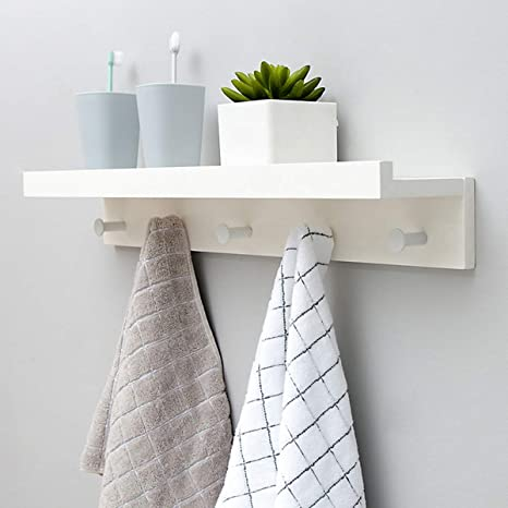 Amazon.com: Perchero de pared con estante, perchero con 5 ...