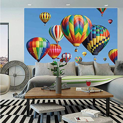 Colorful Home Decor Huge Photo Wall Mural,Nostalgic Hot Air Balloons in Sky Flying Journey Fun Adventure Hobby Theme,Self-Adhesive Large Wallpaper for Home Decor 100x144 inches,Blue ()