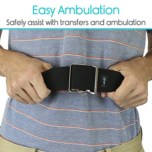 Gait Belt by Vive - Medical Nursing Safety Transfer Assist Device - for Bariatrics, Pediatric, Elderly, Occupational & Physical Therapy - Long Gate Strap with Quick Release Metal Buckle - 60 Inch
