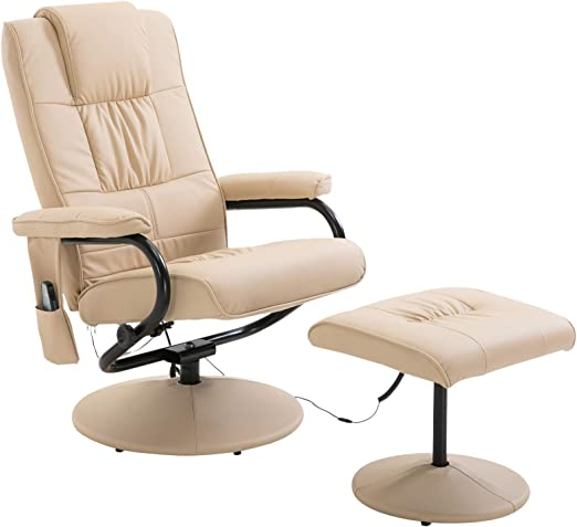 HOMCOM Faux Leather Massage Recliner Chair Easy Sofa Armchair Beauty Couch Bed with Foot Stool Beige