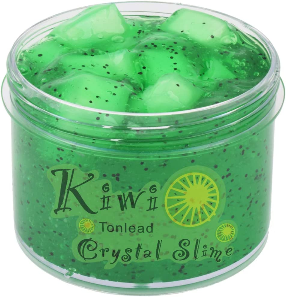 Kiwi Green Clear Slime Crystal Putty with Glitters, Soft Jelly Clay Non-Sticky Slime Premade for Girls Boys, Crunchy Bubble Slime DIY Cotton Mud Stretchy Kids Toys Art Craft Birthday Party Favor