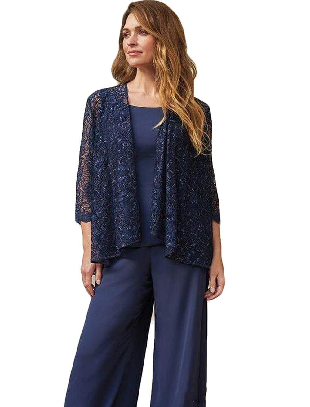 the sale of shoes how to buy on sale The Peachess Mother of The Bride Pant Suits Jewel Neck Chiffon Plus Size  Long Sleeve Wedding Guest Dress with Jacket Navy