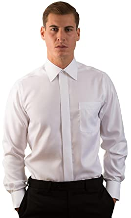 ac24a039b3842 Ilmio Italy Men s Classic Fit Fly Front French Cuff Non Iron Dress Shirt 14  - 30