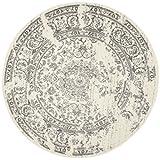 Safavieh Adirondack Collection ADR101B Ivory and Silver Oriental Vintage Round Area Rug (4' Diameter)