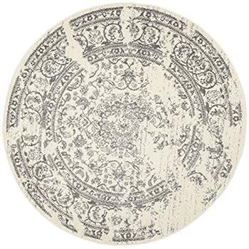 Safavieh Adirondack Collection ADR101B Ivory and Silver Oriental Vintage Distressed Round Area Rug (6 Diameter)
