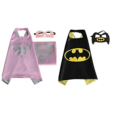 2 Capes, and 2 Masks Supergirl & Batman Costumes In Gift Box from Outlander