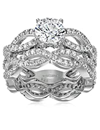 Platinum-Plated Sterling Silver Swarovski Zirconia Round-Cut Infinity Band Ring Set (2.75 cttw)