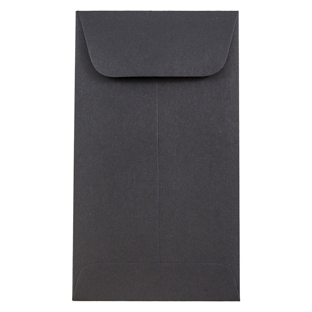 JAM Paper #5.5 Coin Envelope - 3 1/8'' x 5 1/2'' - Black - 500/box