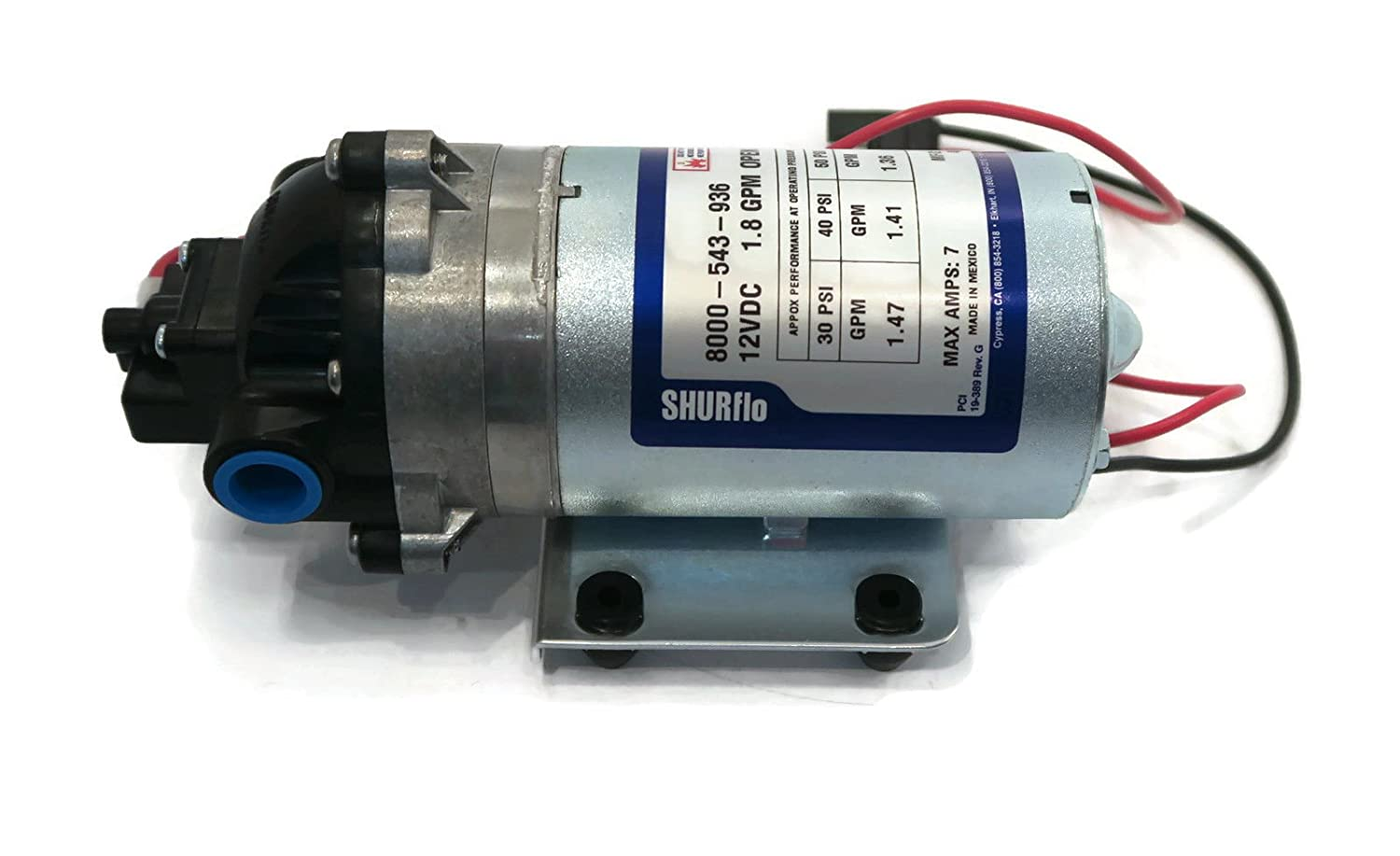 SHURFLO 8000-543-936 Automatic Demand Diaphragm Pump with Wire-Harness Santoprene Diaphragm with Viton Valves 12V 1.8GPM 60PSI Agricultural Spraying and Fluid Transfer