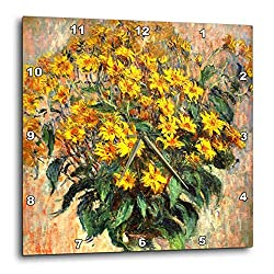 3dRose VintageChest - Masterpieces - Claude Monet - Jerusalem Artichokes - 15x15 Wall Clock (DPP_303330_3)