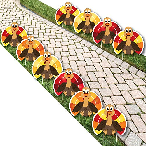 Thanksgiving Turkey - Turkey Lawn Decorations - Outdoor Fall Harvest Yard Decorations for Thanksgiving - 10 Piece