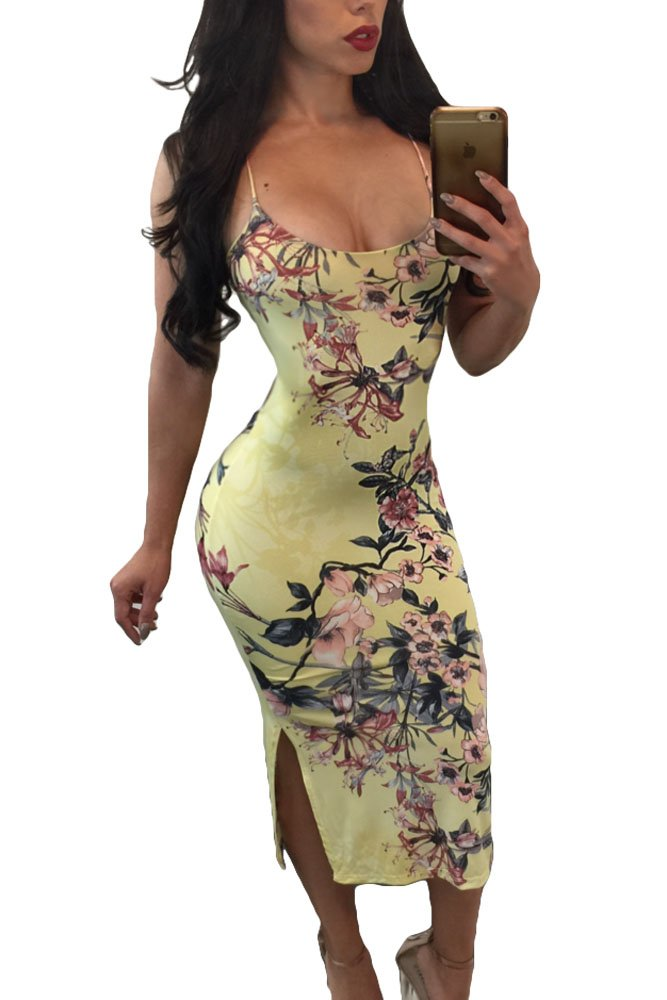 WESICA Spaghetti Strap Dress Sexy Ladies Lace up Back Peachy Floral Party Dress Summer Beach 2017 (US 12-14) L, Yellow