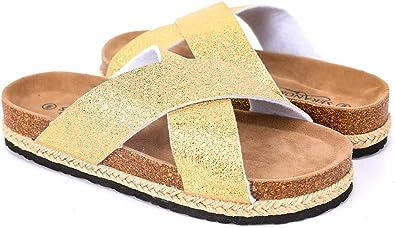 Amazon.com   Seranoma Women's Comfort Slide Cork Sandals   Metallic  Criss-Cross Straps   Open Toe Platform   Trendy Spring/Summer Sandal    Slides